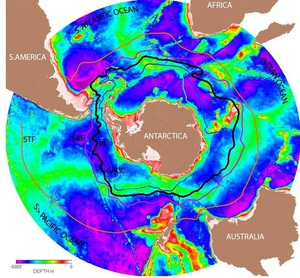 False-color map of Antarctica and surrounding oceans