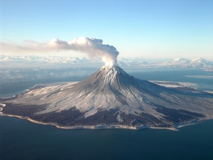 Aerial photo of volcanic eruption
