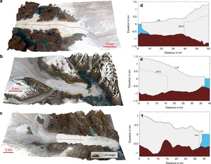 Scientific diagrams showing three dimensional maps and ice loss in Greenland